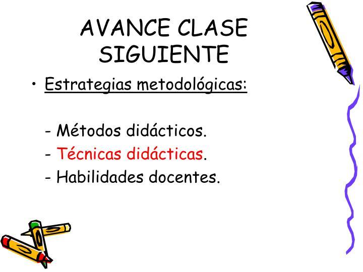 AVANCE CLASE SIGUIENTE