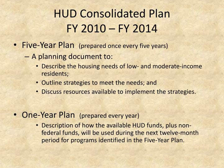 Hud consolidated plan fy 2010 fy 2014
