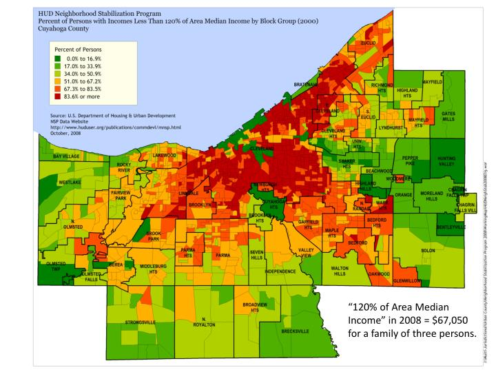 """""""120% of Area Median Income"""" in 2008 = $67,050 for a family of three persons."""