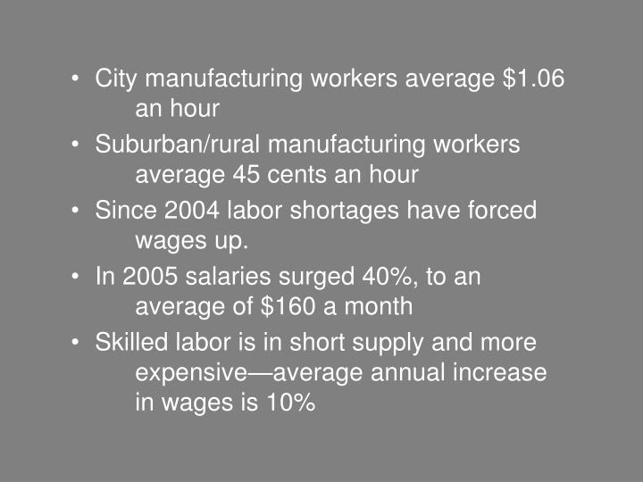 City manufacturing workers average $1.06 an hour