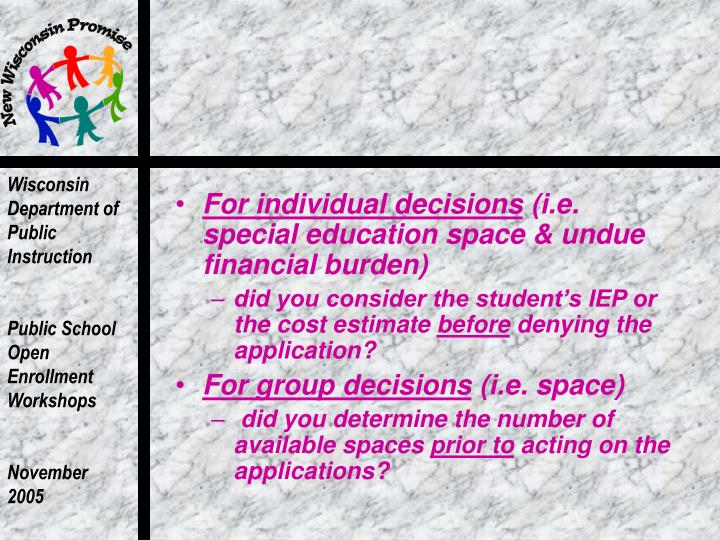 For individual decisions
