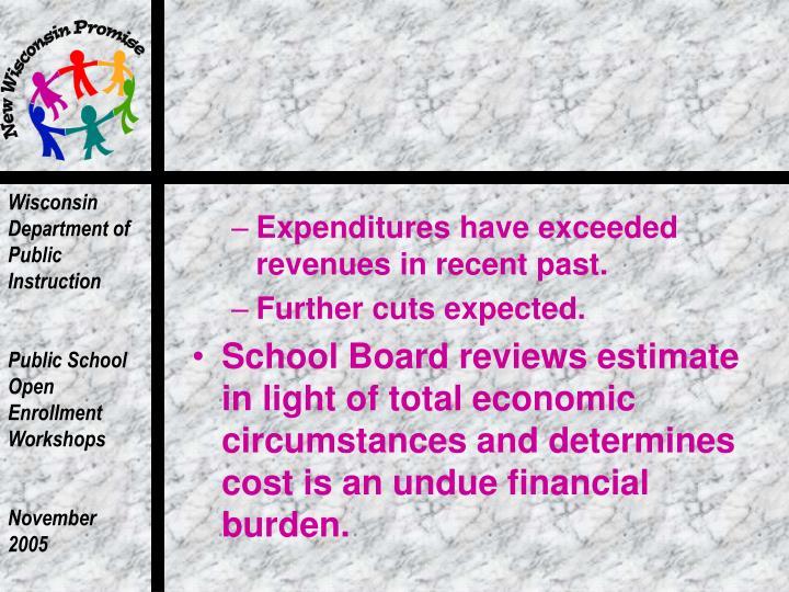 Expenditures have exceeded revenues in recent past.