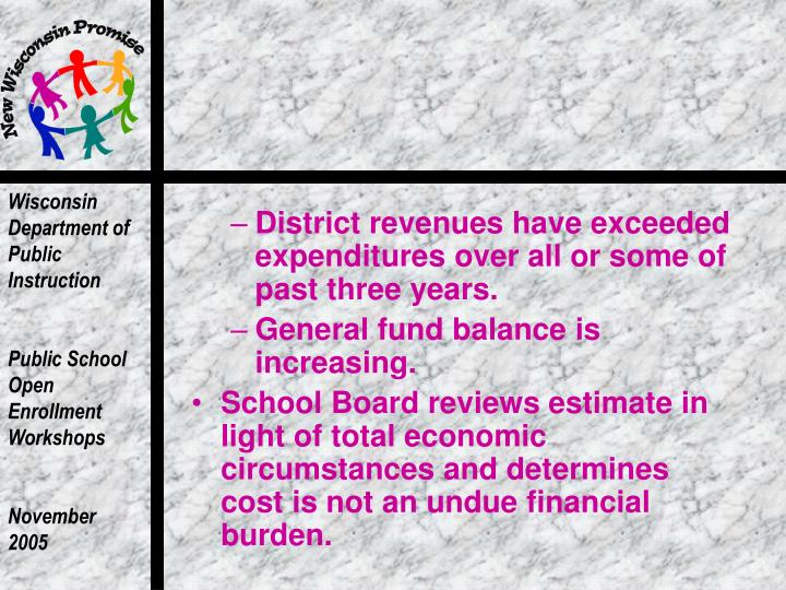 District revenues have exceeded expenditures over all or some of past three years.