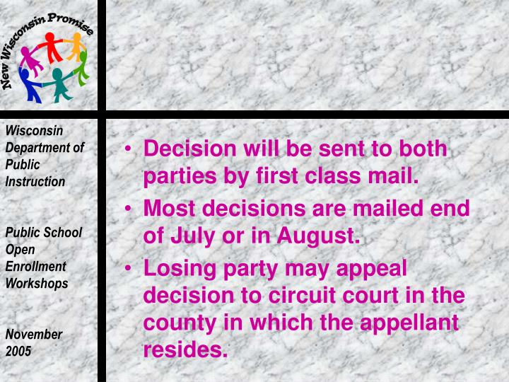 Decision will be sent to both parties by first class mail.
