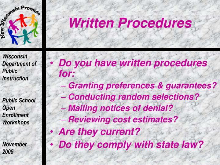 Written Procedures