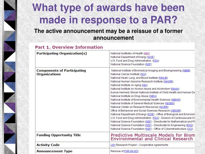 What type of awards have been made in response to a PAR?