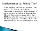 misdemeanor vs felony theft