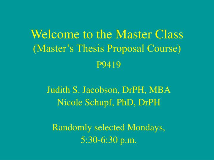 Master course thesis