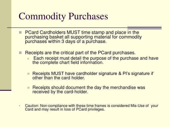 Commodity Purchases
