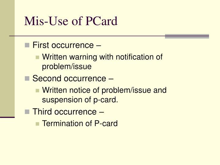 Mis-Use of PCard