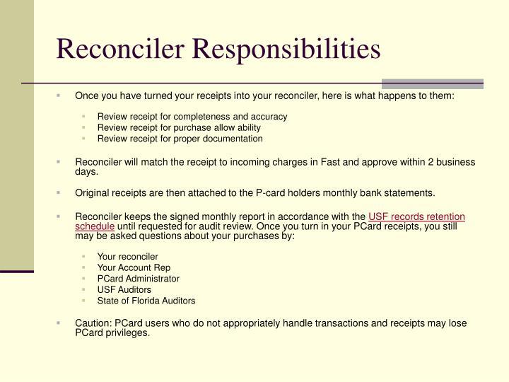 Reconciler Responsibilities