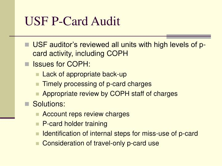 USF P-Card Audit