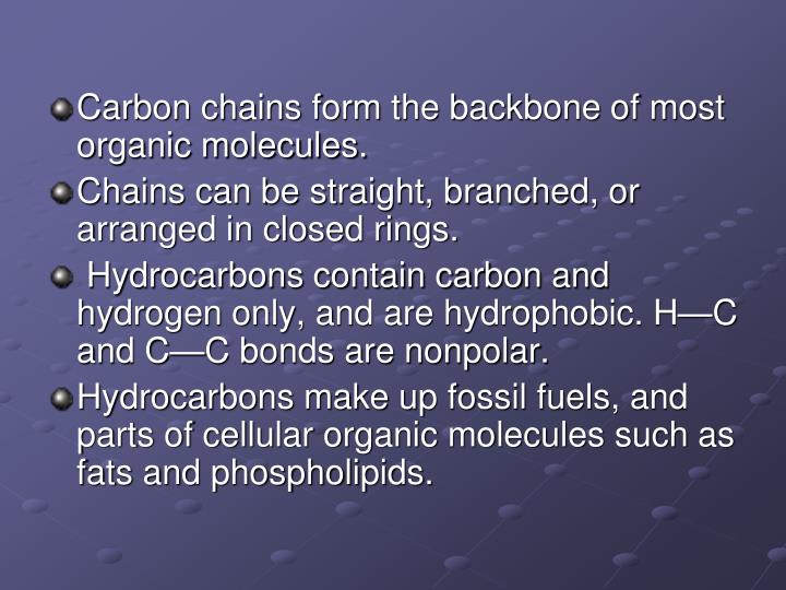 Carbon chains form the backbone of most organic molecules.