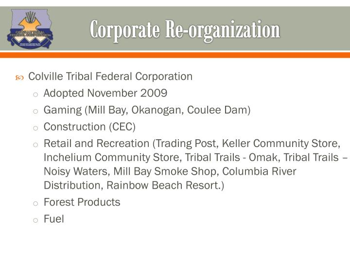 Corporate Re-organization