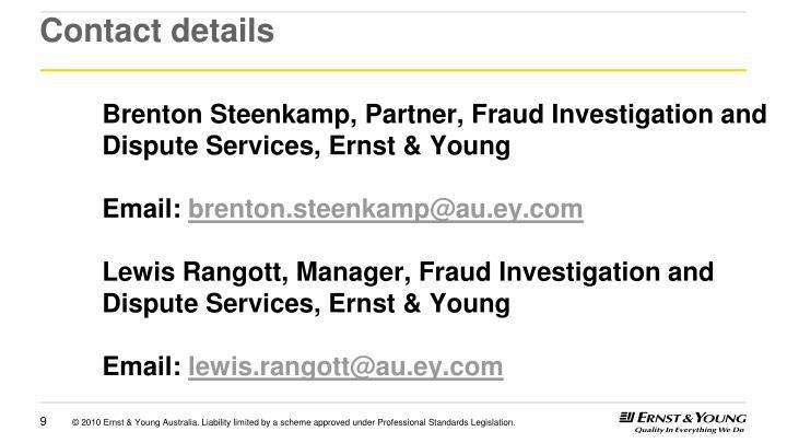 Brenton Steenkamp, Partner, Fraud Investigation and Dispute Services, Ernst & Young