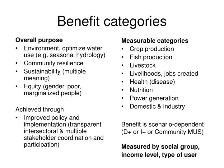 Benefit categories