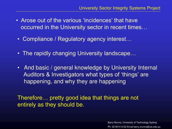 University sector integrity systems project1