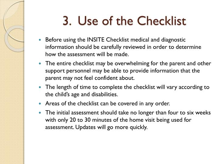 3.  Use of the Checklist