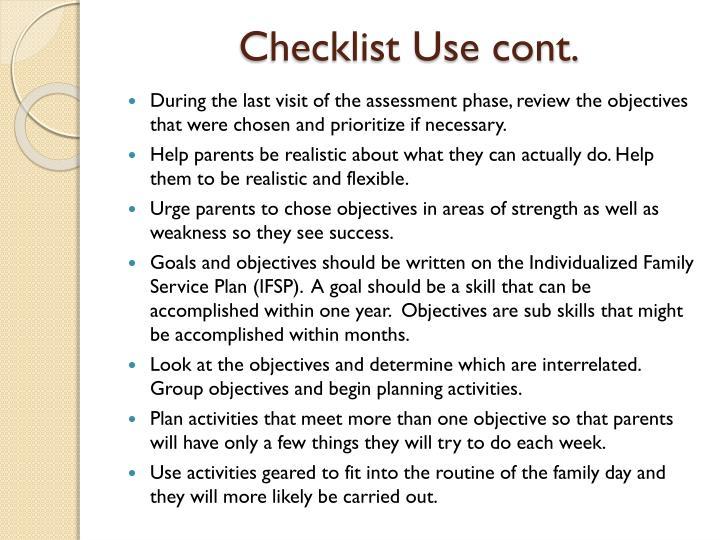 Checklist Use cont.