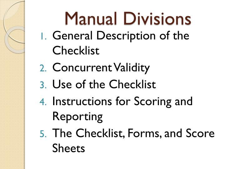 Manual divisions
