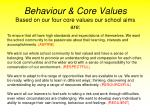 behaviour core values based on our four core values our school aims are