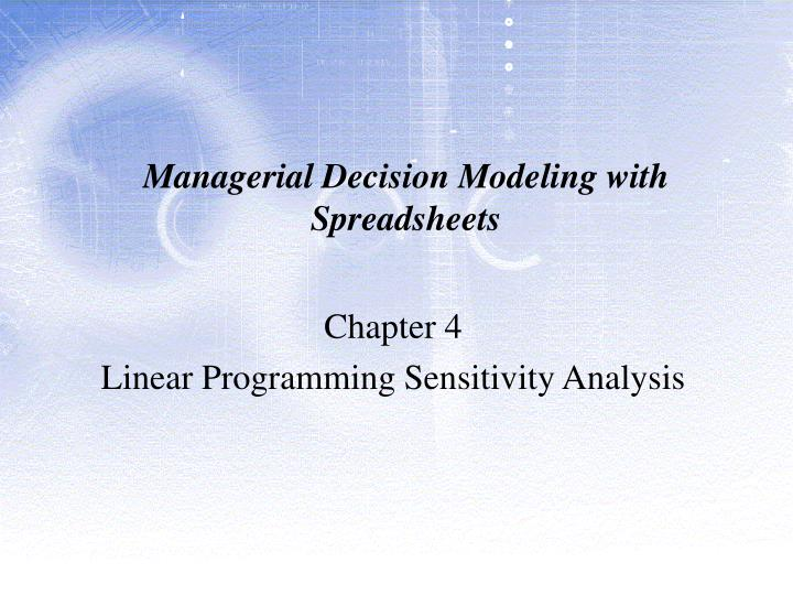 chapter1 exercise for managerial decision modeling essay 20-1 chapter 20 job order cost study objectives and end-of-chapter exercises and problems study managerial analysis all about you decision making across the.