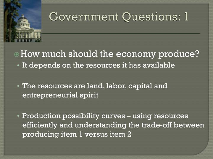 Government questions 1