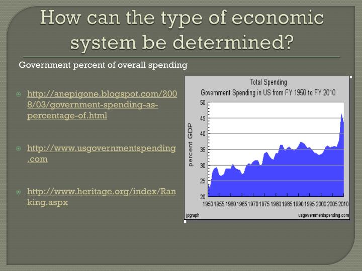 How can the type of economic system be determined?