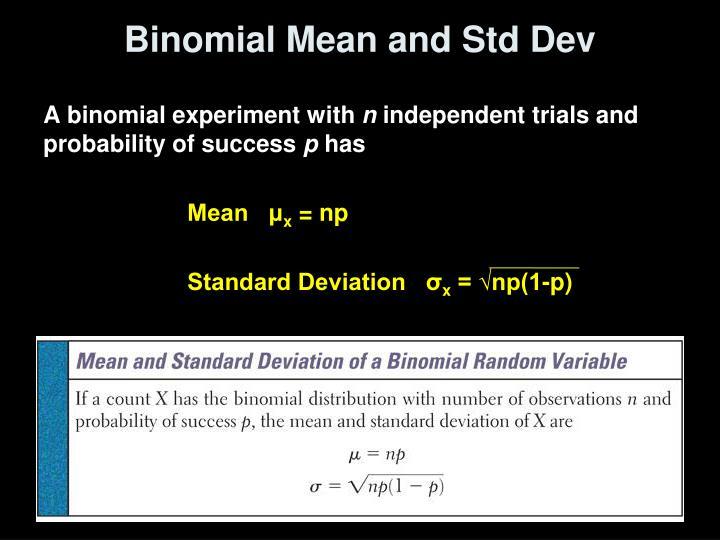 Binomial Mean and Std Dev