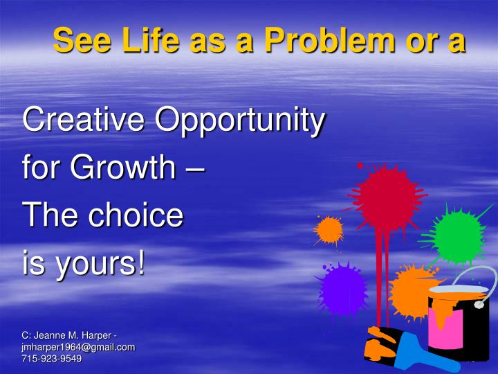 See Life as a Problem or a