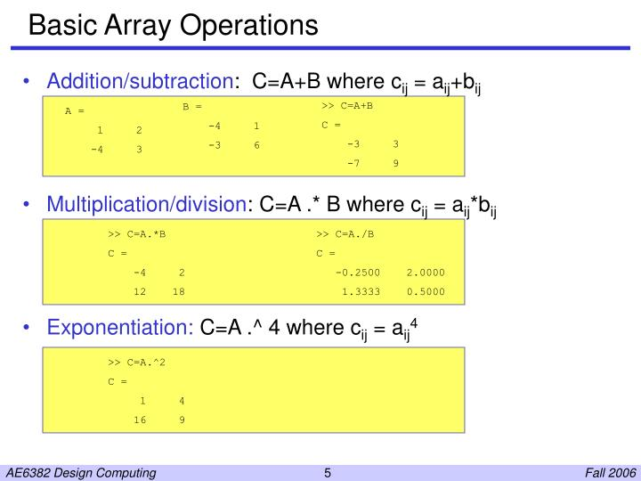 Basic Array Operations