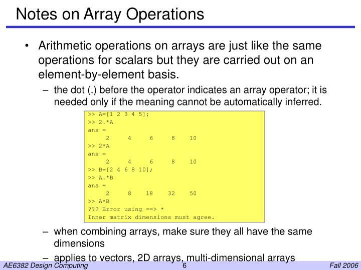 Notes on Array Operations