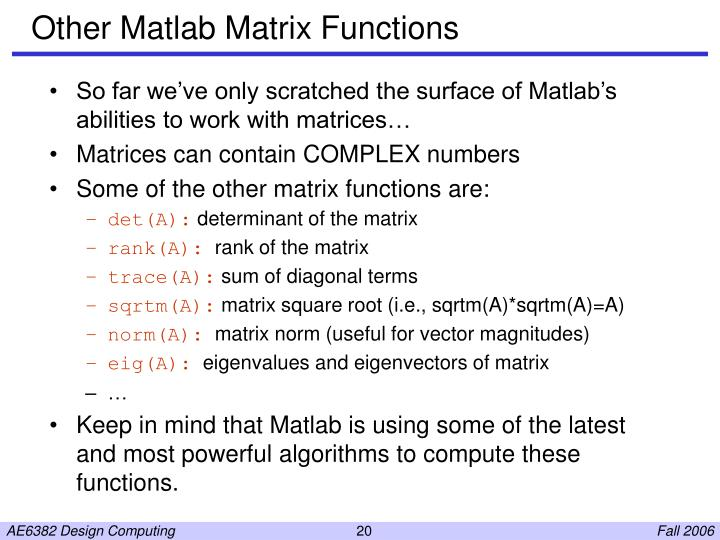 Other Matlab Matrix Functions