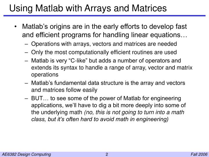 Using matlab with arrays and matrices