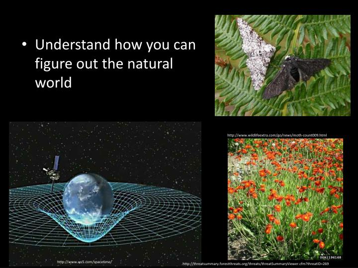 Understand how you can figure out the natural world