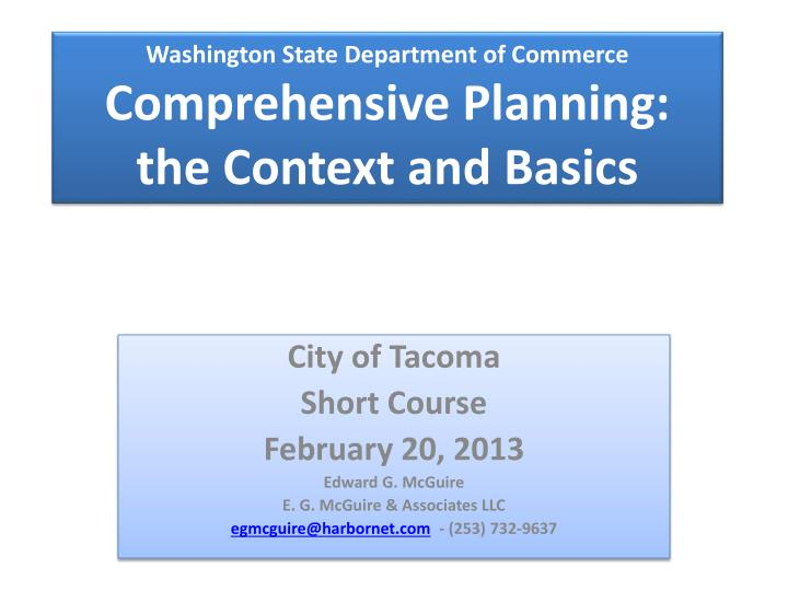 Washington state department of commerce comprehensive planning the context and basics