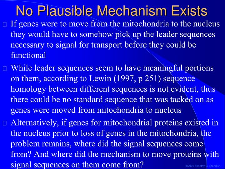 No Plausible Mechanism Exists