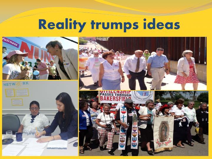 Reality trumps ideas