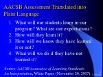 aacsb assessment translated into plain language