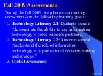 fall 2009 assessments