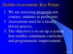 zicklin assessment key points
