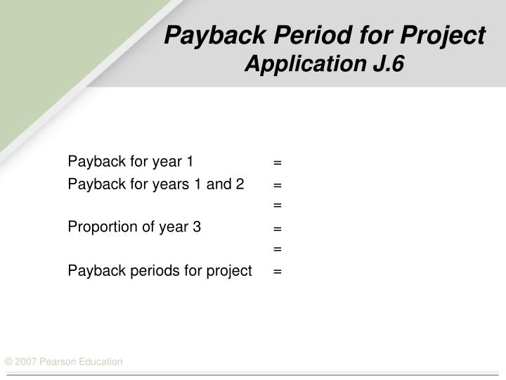Payback Period for Project