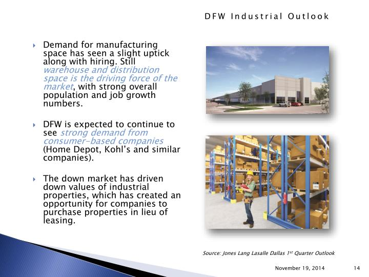Demand for manufacturing space has seen a slight uptick along with hiring. Still