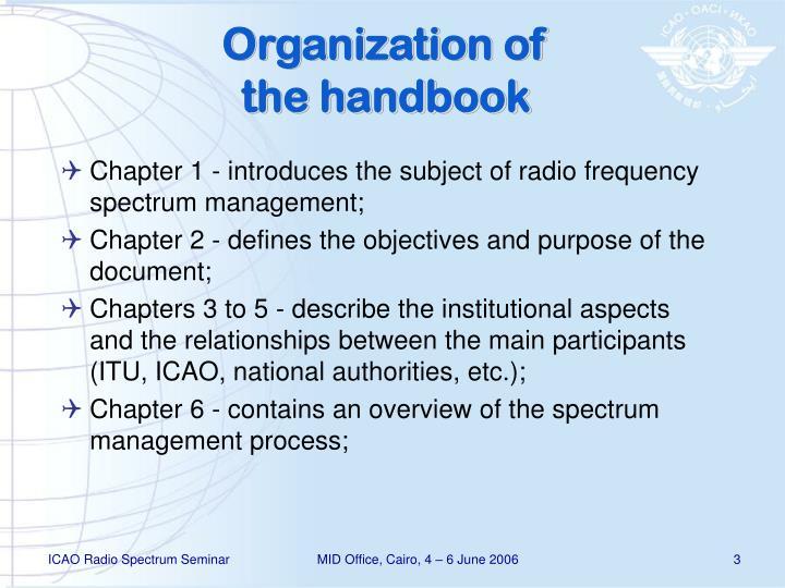 Organization of the handbook