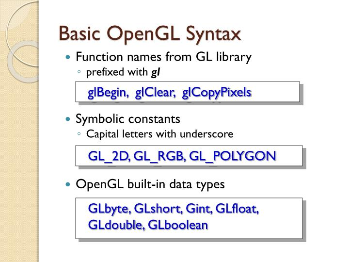 Basic OpenGL Syntax