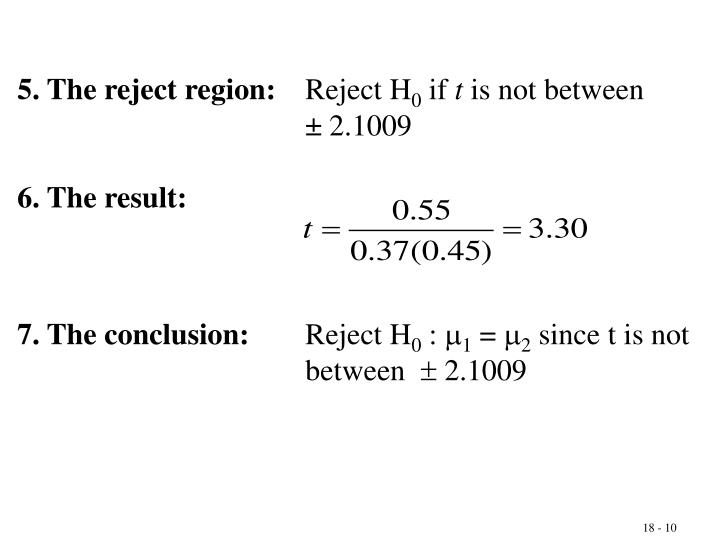 5. The reject region: