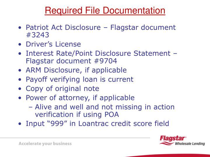 Patriot Act Disclosure – Flagstar document #3243