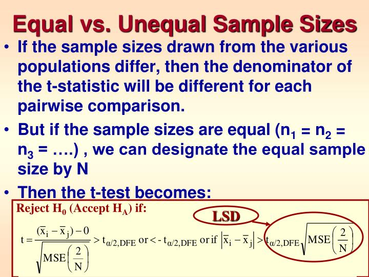 Equal vs. Unequal Sample Sizes