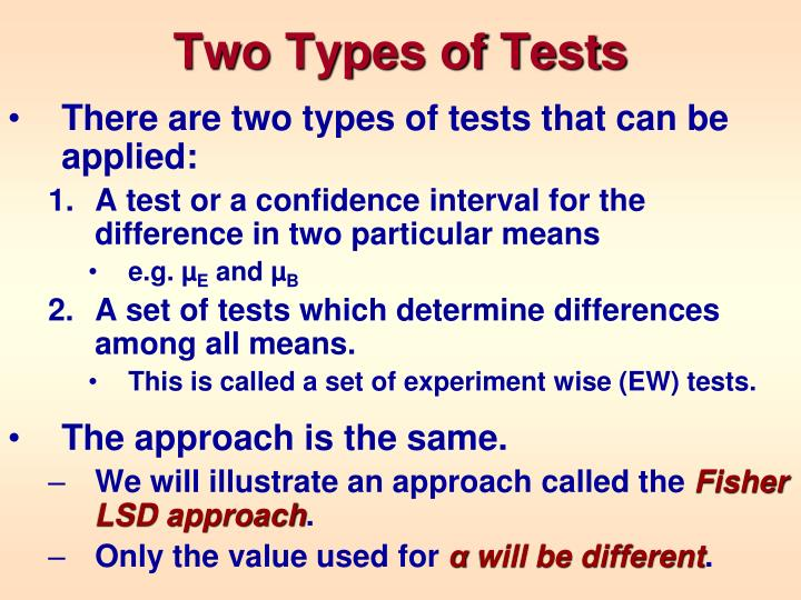Two Types of Tests