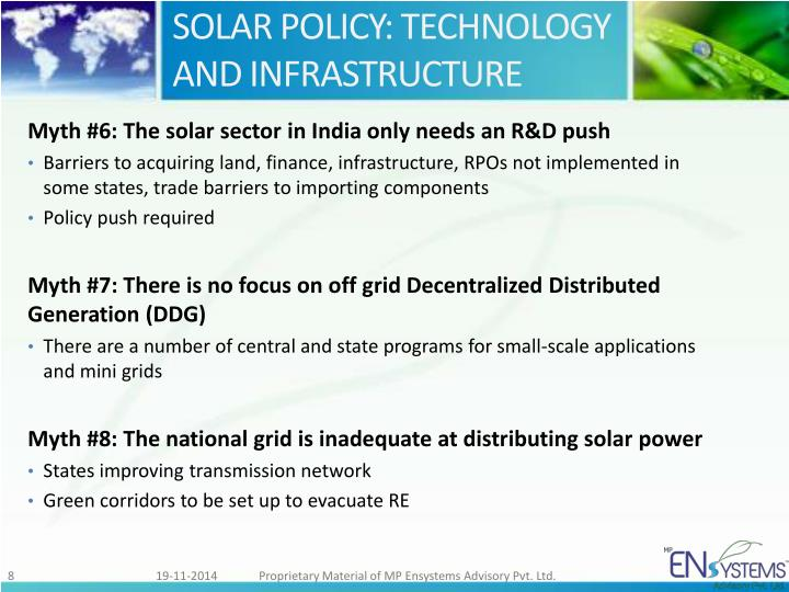 SOLAR POLICY: TECHNOLOGY AND INFRASTRUCTURE